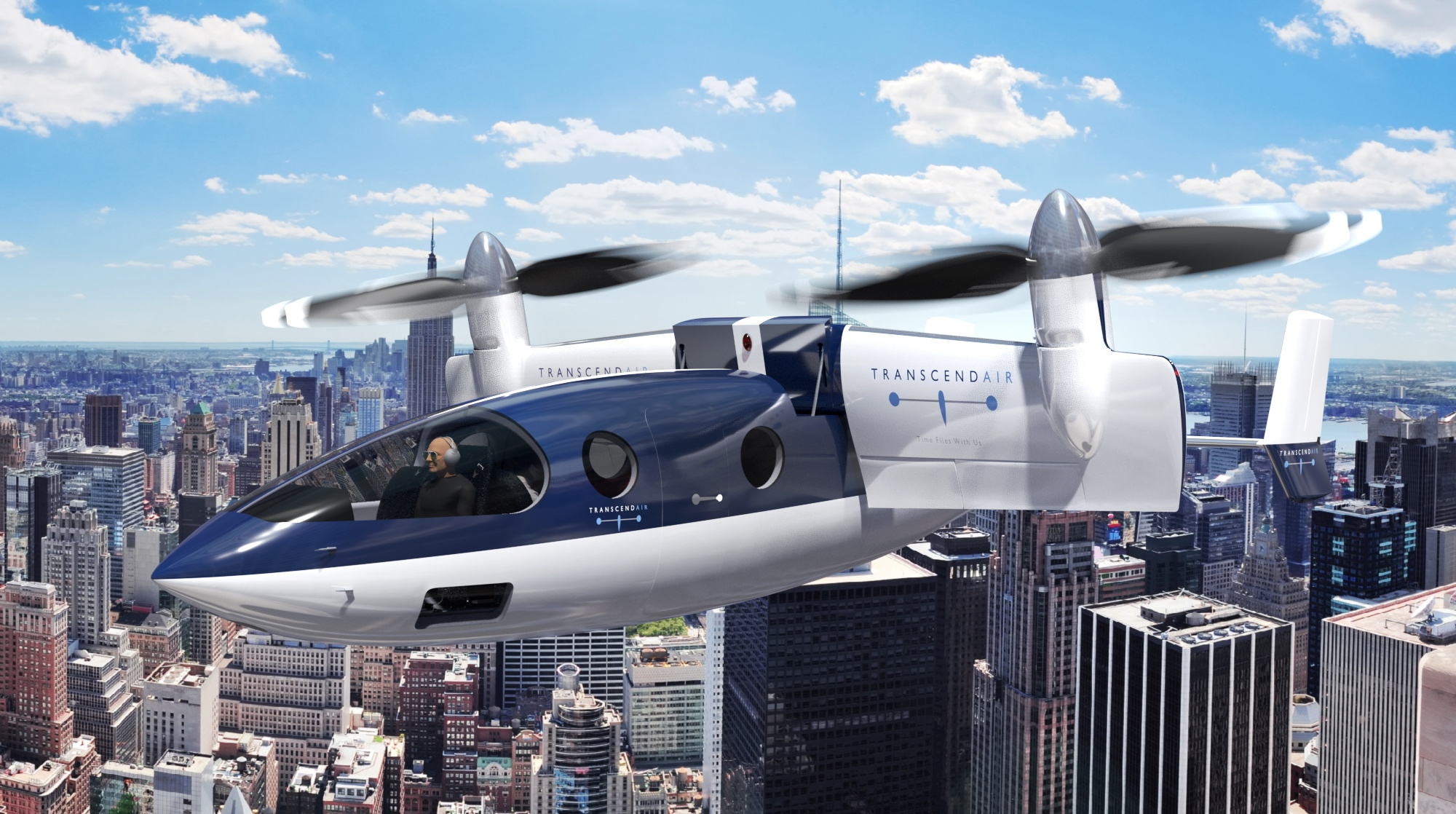 Vy 400 flying over NYC
