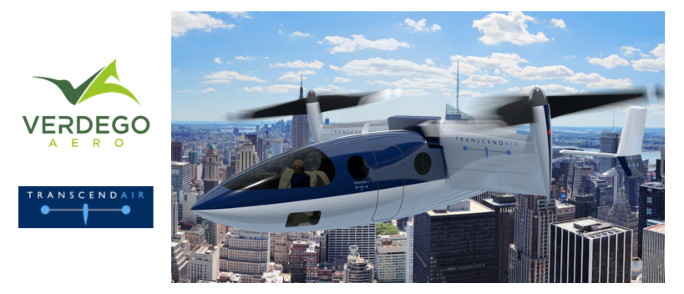 VerdeGo Aero to provide Hybrid-Electric Propulsion Option for Transcend Air Vy 400 VTOL Aircraft