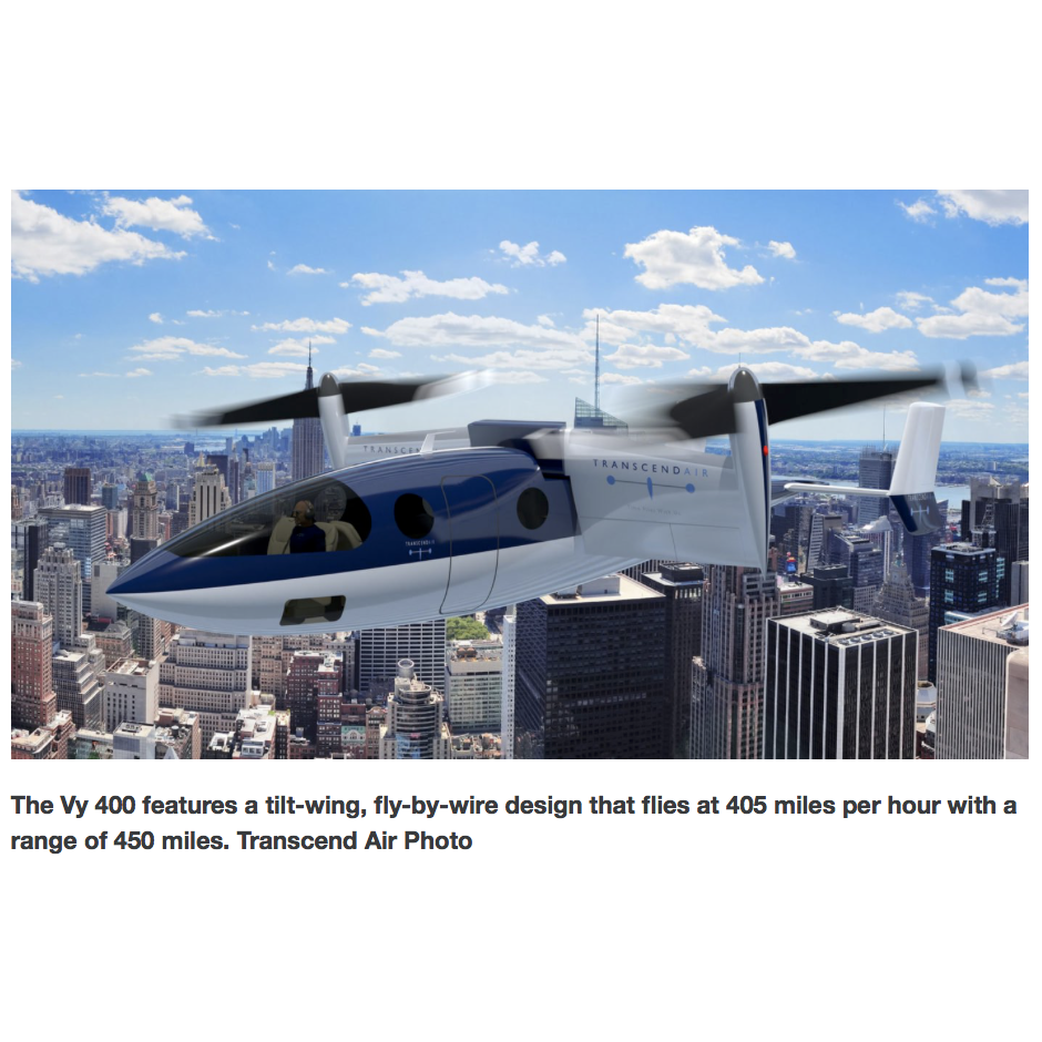 "Transcend Air announces ""affordable"" city-to-city VTOL aircraft"